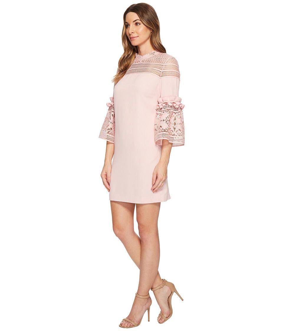 e0a14f0a9 Ted Baker Lucila Lace Panel Bell Sleeve Tunic Women s Dress Dusky Pink