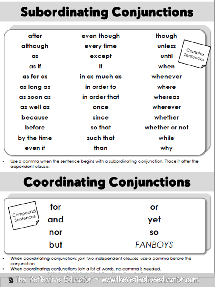 The Reflective Educator: Writing Sentences with Conjunctions ...