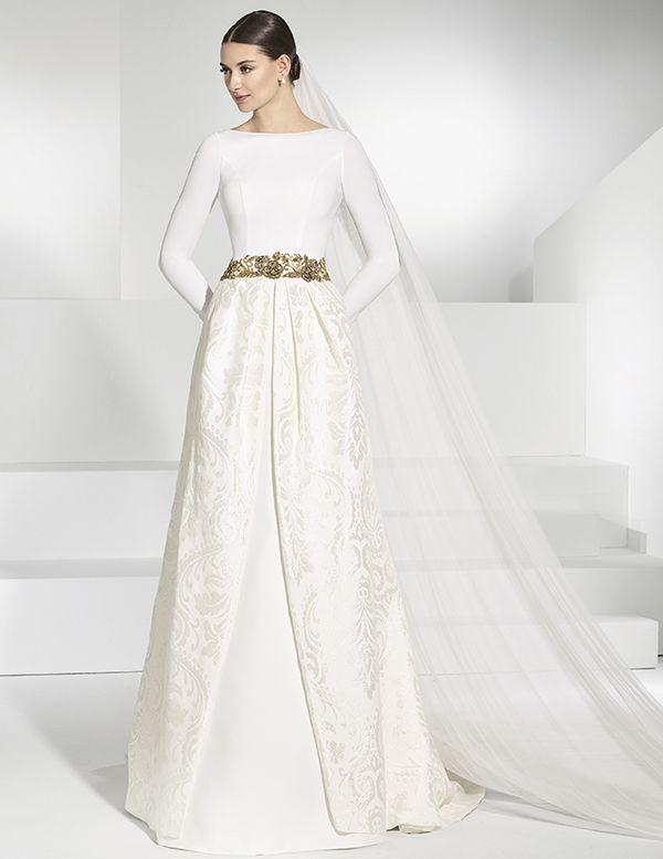 vestidos de novia de falla con sobrefalda brocada de quita y pon