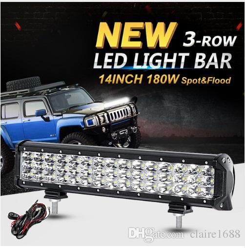 14inch 180w 3 Row 6d Cree Chips Led Work Light Bar Offroad Led Bar Driving Light Combo Beam 12v 24v For Truck S Bar Lighting Off Road Led Lights Led Work Light