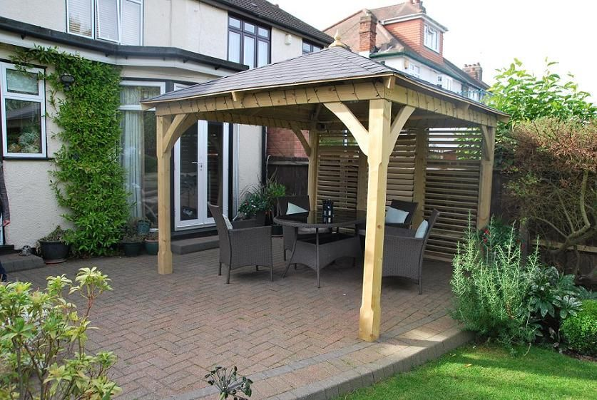 A Beautifully Designed And Crafted Wooden Gazebo Canopy Manufactured From  FSC Approved Pressure Treated Timber With A Black Felt Shingle Roof.