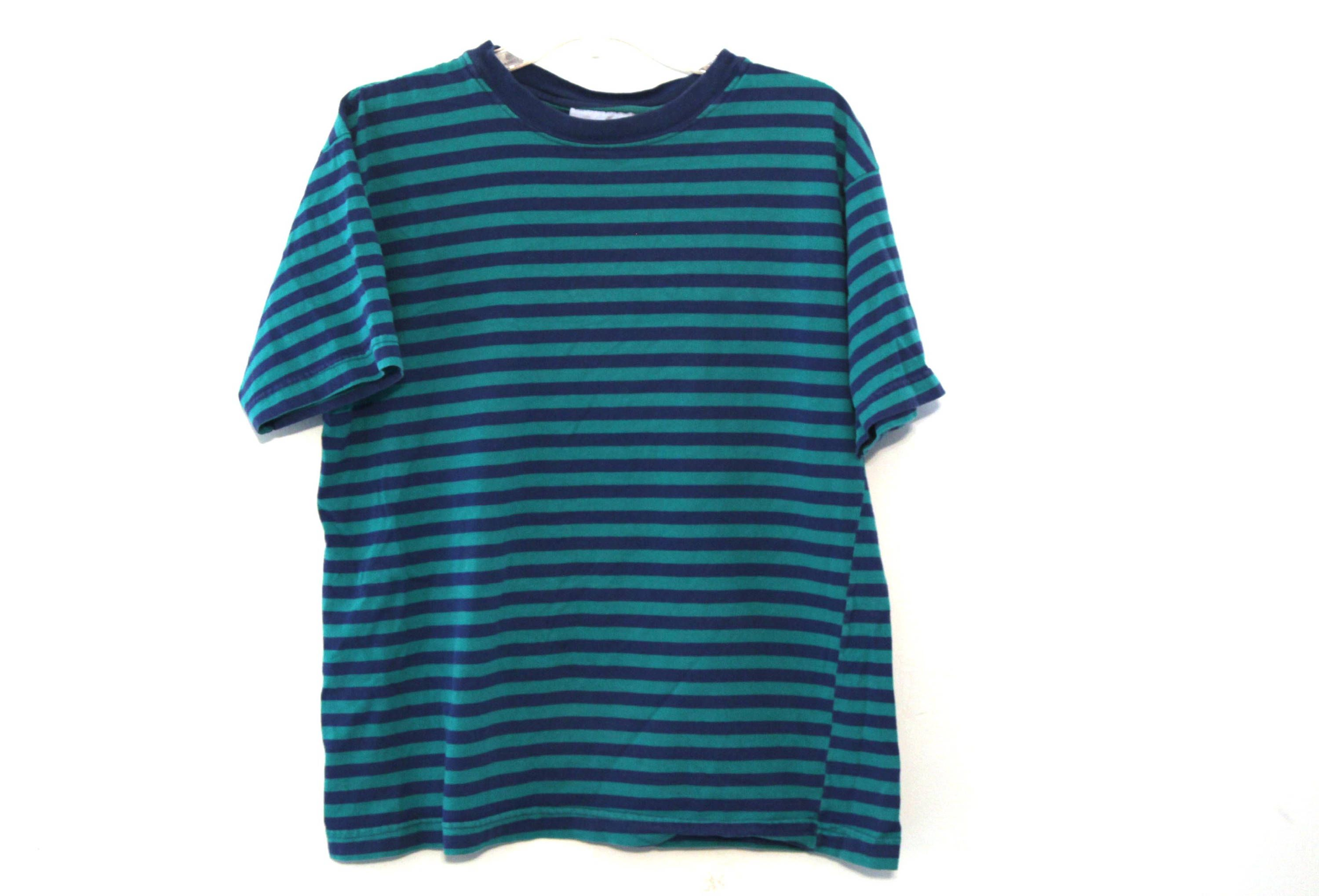 0dff3a38e9fce Vintage 80s striped tshirt pocket tee red navy blue top 90s ...