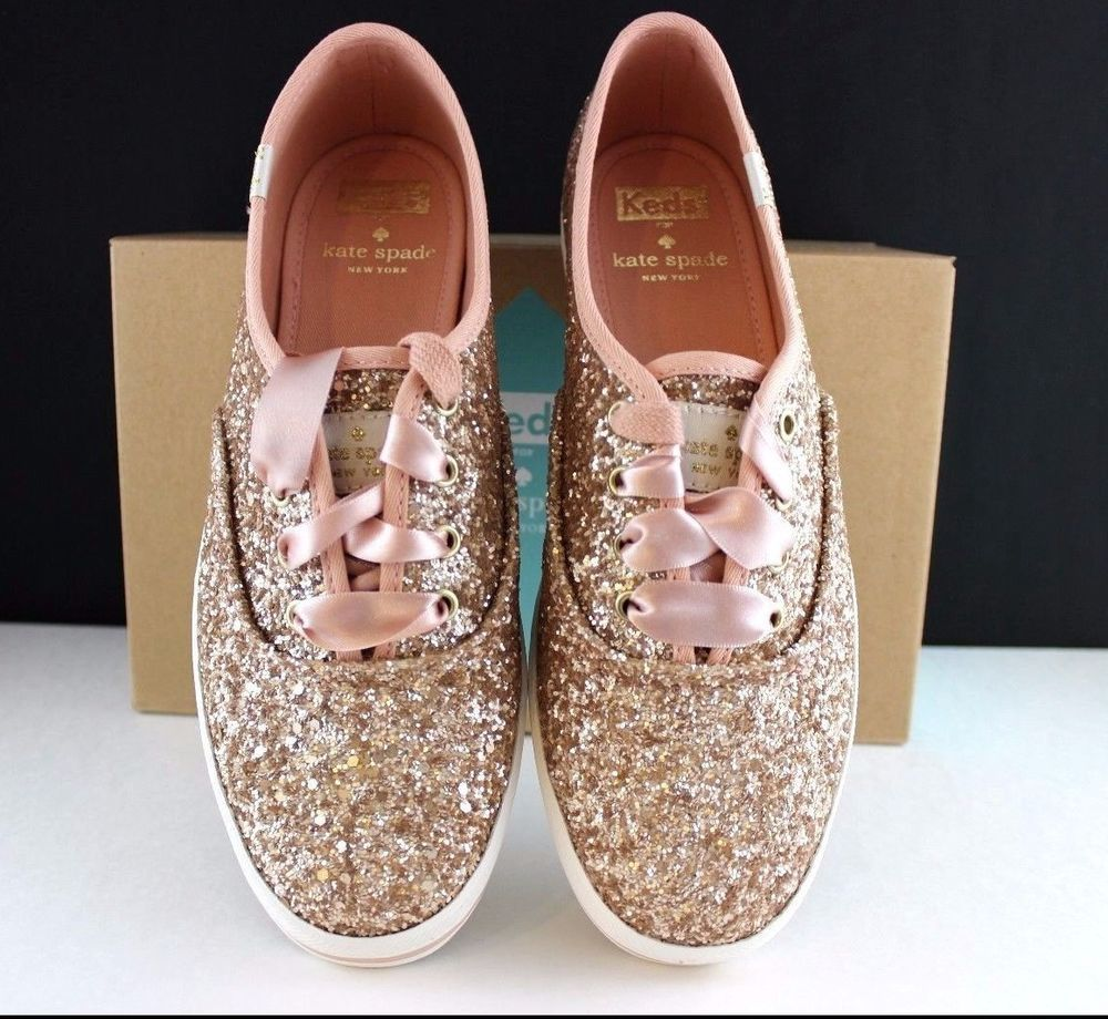 f622db35fb1 Kate Spade Keds Sneakers Kick Rose Gold Glitter Shoes Pink Ribbon NEW in  The BOX  KateSpade  Keds  Casual