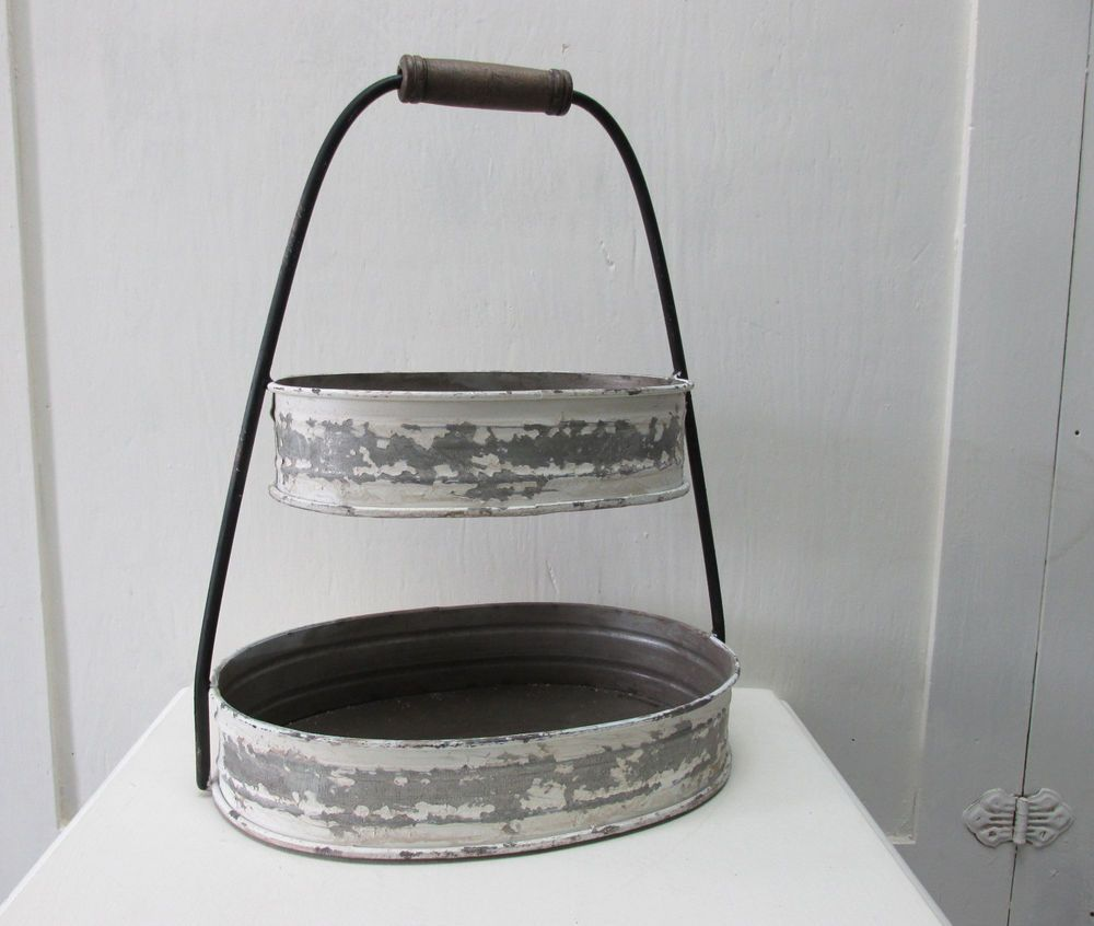 2 Tier Galvanized Metal Tray Stand Distressed Farmhouse Country Vintage Style Galvanized Metal Trays Metal Trays Galvanized Metal