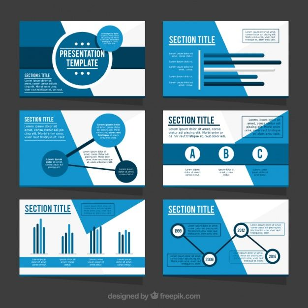 Template of business presentation in blue tones Free Vector - presentation template