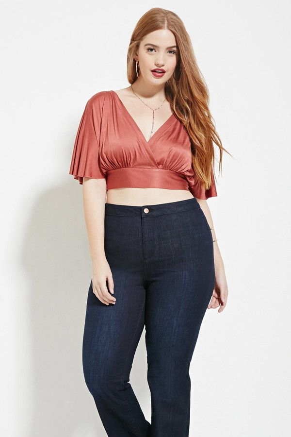 f16947f5537188 FOREVER 21+ plus size surplice crop top...I d love to make this but un- cropped
