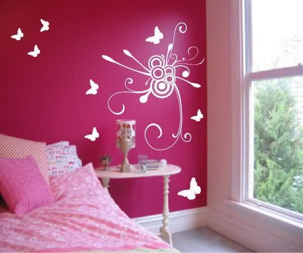 Teen room designs amazing wall painting ideas for girls bedroom pink color nice wallpaper good - Flower wall designs for a bedroom ...