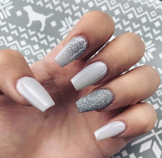 Christmas Acrylic Nails Grey: Glitter Coffin Nails Designs Are So Perfect For This
