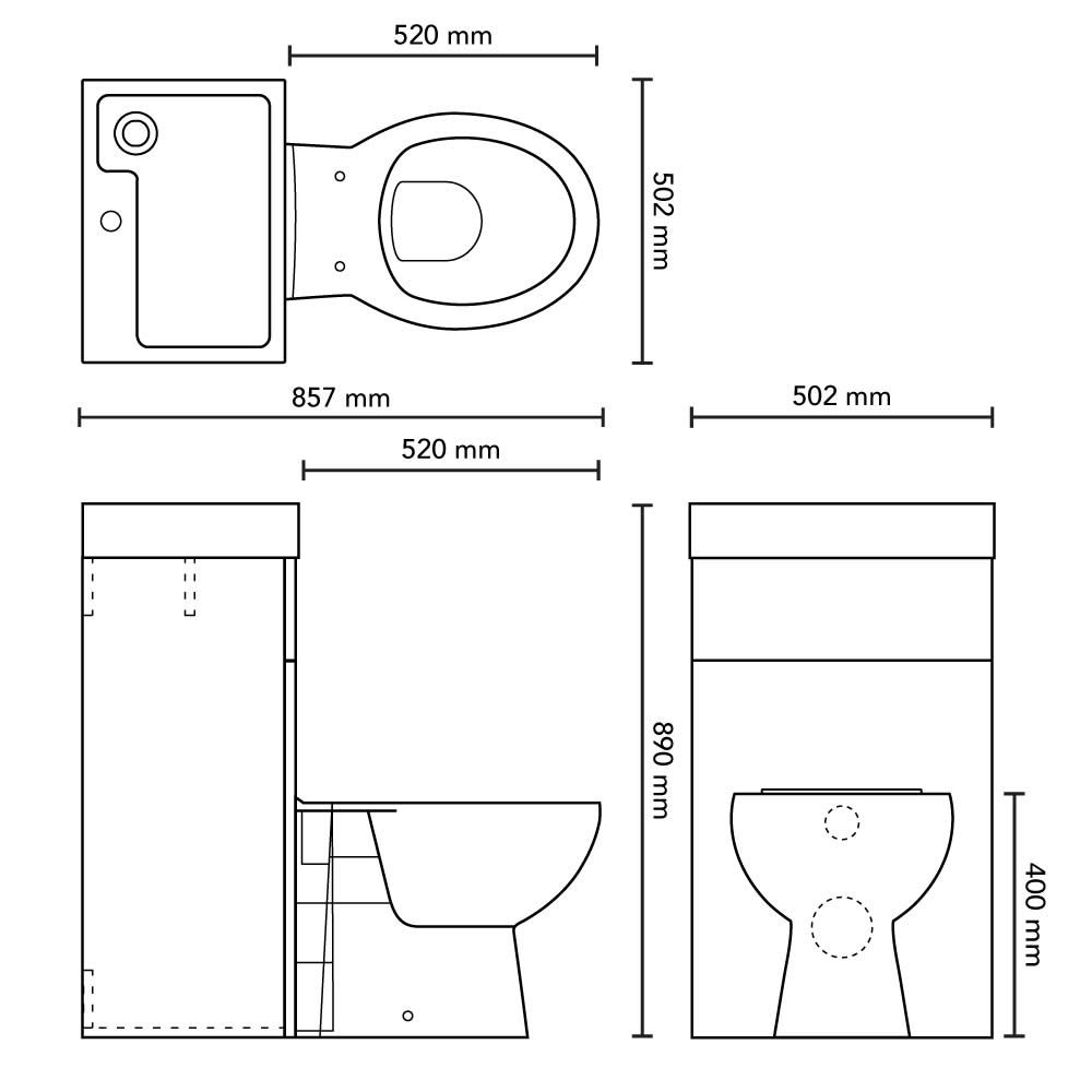 Milano Lurus White Modern Select Toilet And Basin Combination Unit 500mm X 890mm Toilet And Basin Unit Space Saving Bathroom Basin
