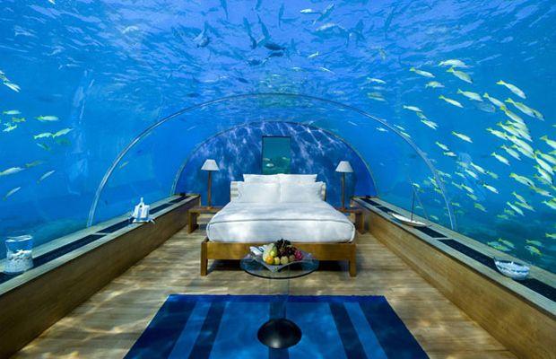 Underwater Bedroom Suite Located Beneath The Indian Ocean