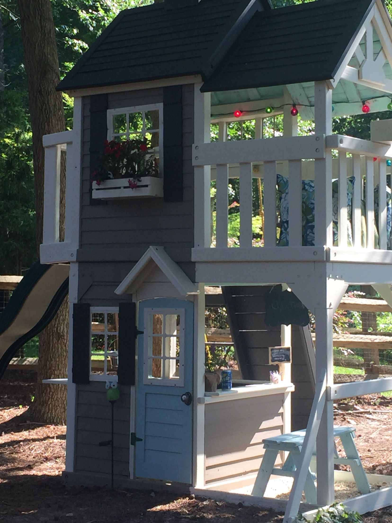 Playset Swingset Renovation We Painted Our Playset From Costco To Match Our House Play Houses Playset Outdoor Kids Backyard Playground