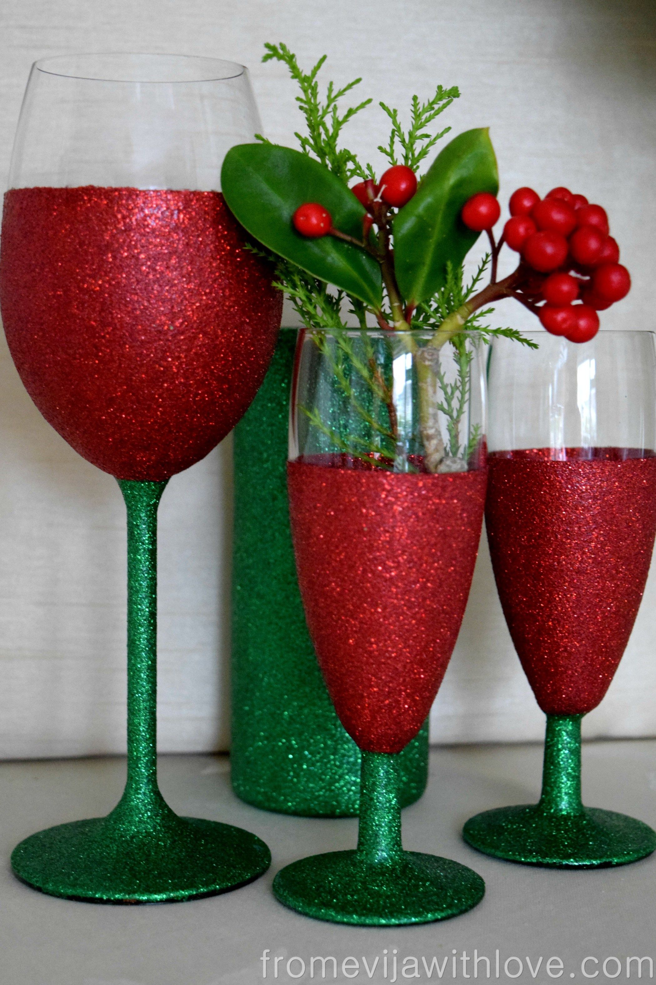 On The 1st Day Of Christmas Sparkle From Evija With Love Glitter Christmas Christmas Wine Glasses Glitter Wine Glasses Diy
