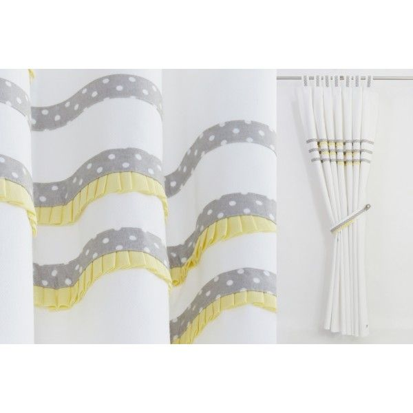 White Grey Yellow Curtains Baby Nursery