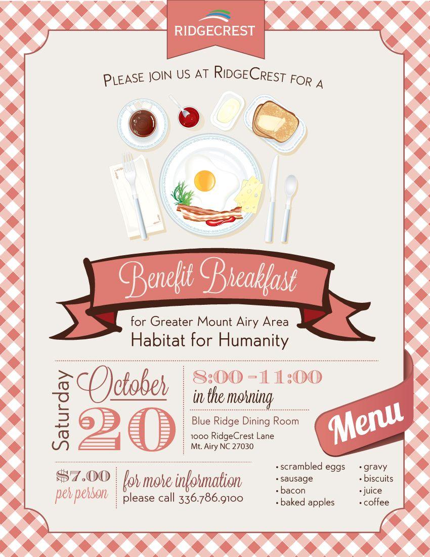 benefit breakfast flyer random event materials pinterest flyer