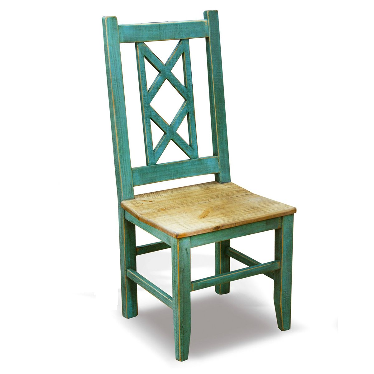 Charmant Bombay Cross Back Turquoise Side Chair