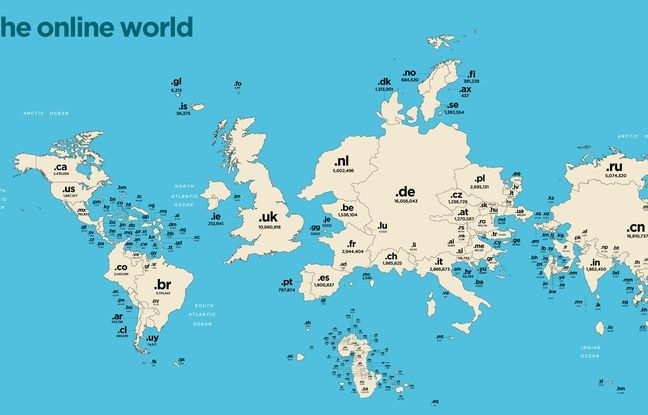 La mappemonde des noms de domaine.