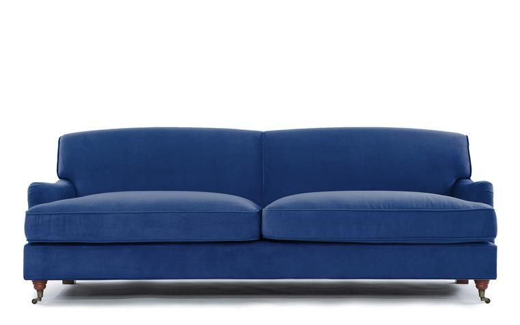 Caster Mid Century Modern Microfiber Sofa In Blue With Images Microfiber Sofa Sofa Mid Century Modern Sofa