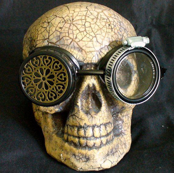 Steampunk Goggles Glasses  lenses loops by oldjunkyardboutique, $24.99