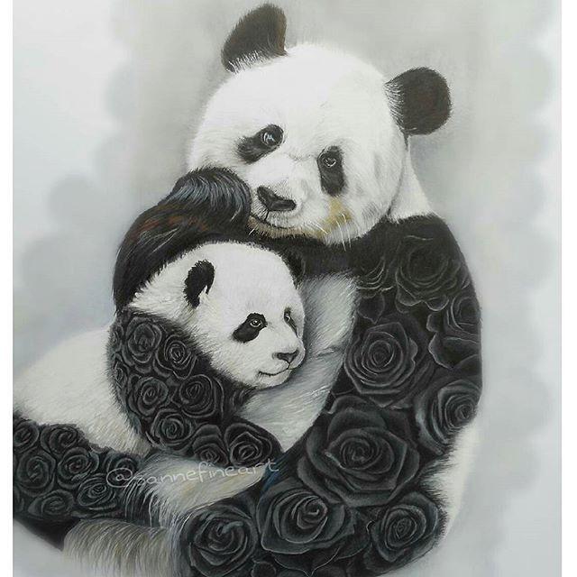 'Panda Girls' by @sannefineart #supportartists #theartisthemotive .