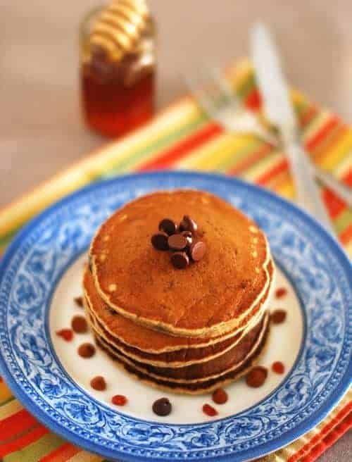 Photo of Eggless Banana Oats Choco Chip Pancake