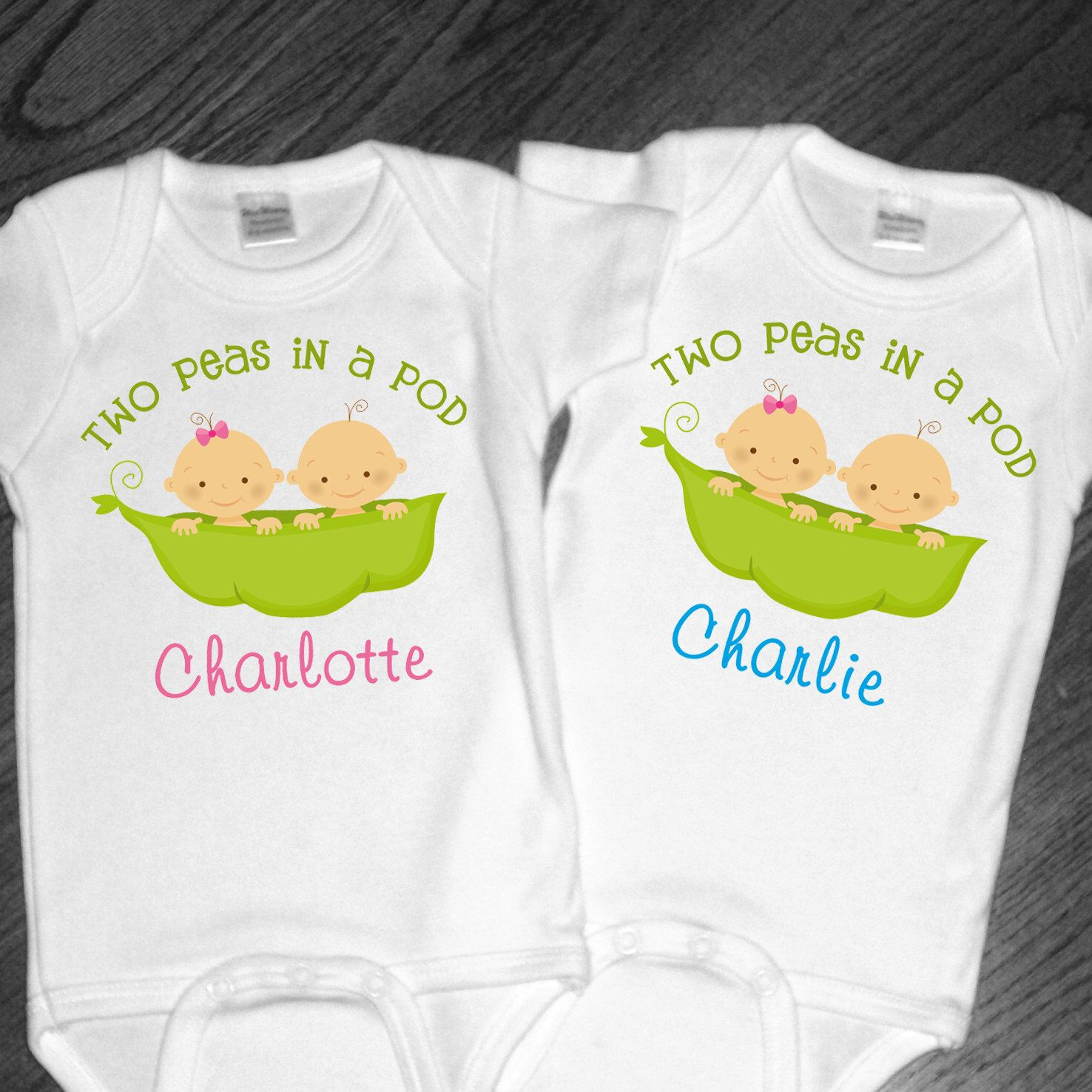 Set Of 2 Personalized Two Peas In A Pod Shirts