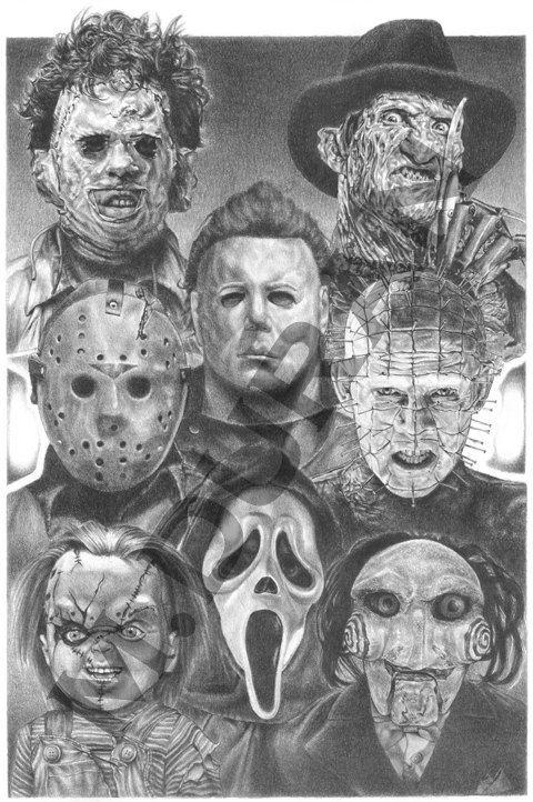 Horror Nights Movie Villains Scariest Décor Ever by CityMoonArt on Etsy, unframed option