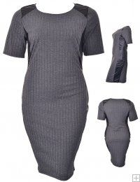 GRAY RIBBED BODYCON DRESS WITH FAUX LEATHER INSETS  WHOLESALE PLUS SIZE DRESSES  10520 PLUS RIBBED BODYCON UNIT PRICE$12.75 1-1-1PACKAGE3PCS