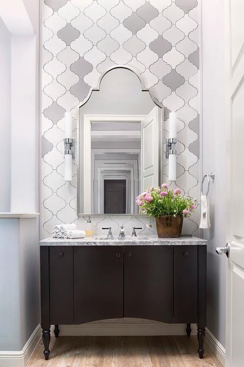 white and gray arabesque tiles top