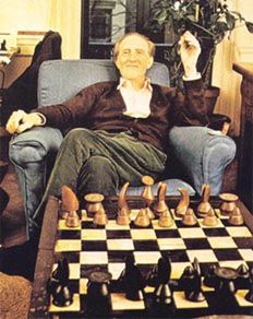 Marcel Duchamp with chess set designed by his friend, Max Ernst
