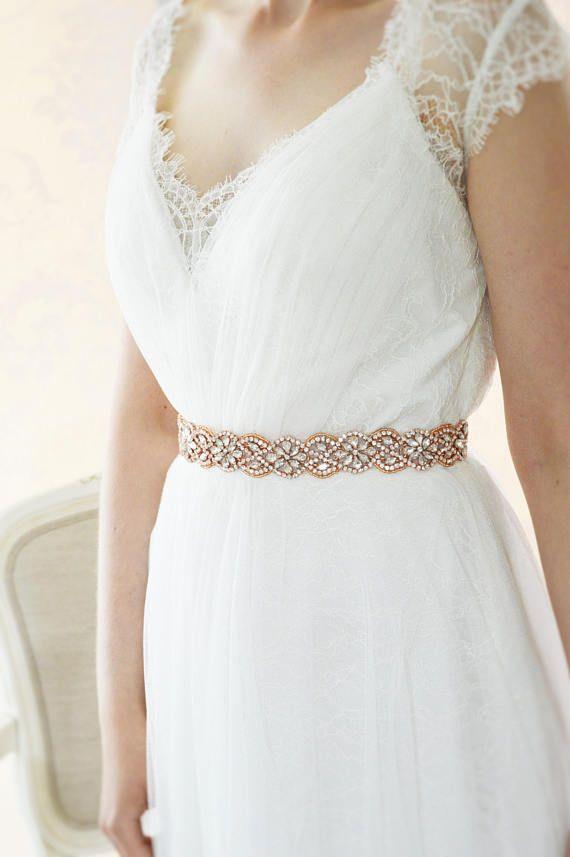 Rose Gold Wedding Dress Belt | Rose gold weddings, Rose gold ...