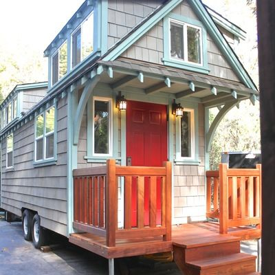 Man Builds Mobile Tiny Cottage With Front Porch Photo Dormers A