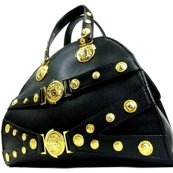 Gianni Versace Vintage MEDUSA black leather by HauteDecades Vintage Purses ba3aff58602ef