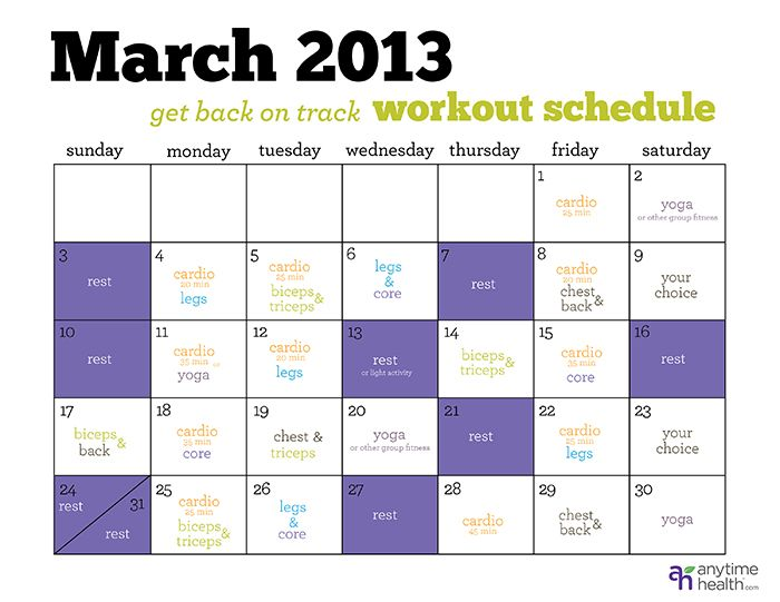 Workout Calendar Get Back On Track In March  Workouts