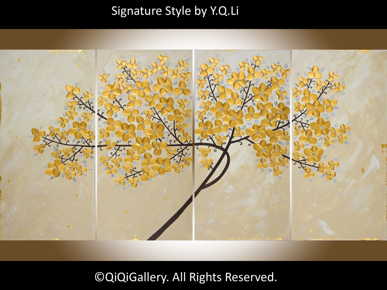 Large Acrylic Golden Flowers Tree painting wall decor wall art ...