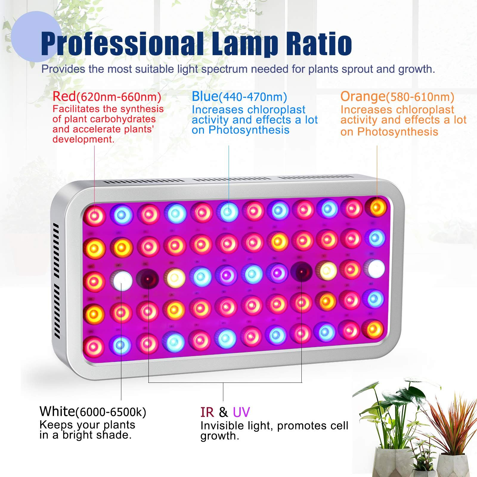 Roleadro Dimmable LED Grow Light 600W Led Plant Grow Lamp
