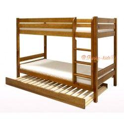 Letto a castello con estraibile in legno massello Casper 3 160x80 cm ...