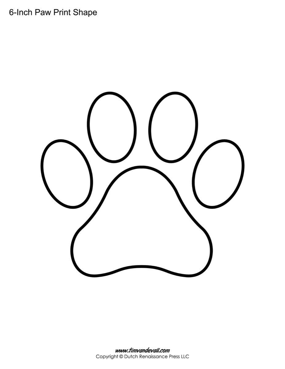 Paw Stencil Printable Print Shape Templates Pages Stencils Prints Shapes Coloring Template Dog Inch Printables Pat Paw Print Clip Art Paw Print Art Paw Stencil
