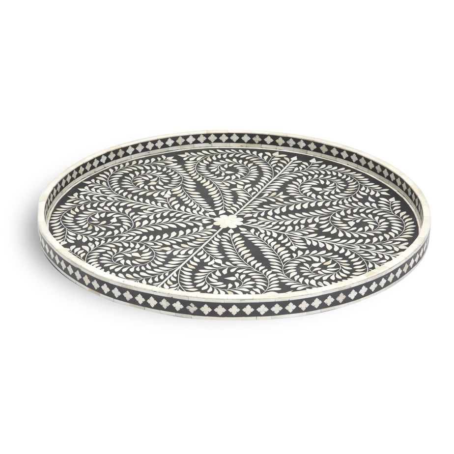 Bone Inlay Large Round Tray In Black Handmade Furniture
