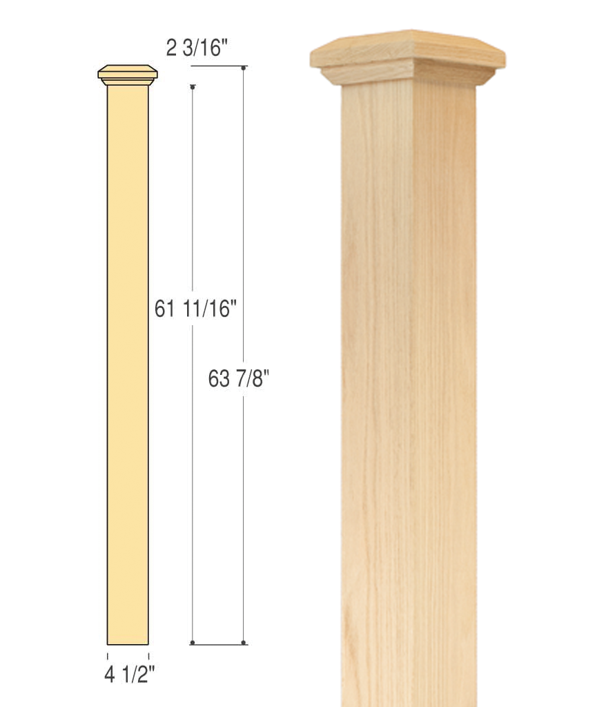 Beautiful Interior Staircase Ideas And Newel Post Designs: Mission Box Newel (Medium) : C-4690