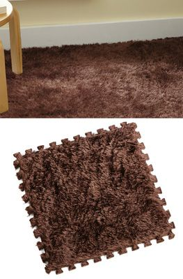 Set Of 8 Dark Brown Plush Carpet Tiles