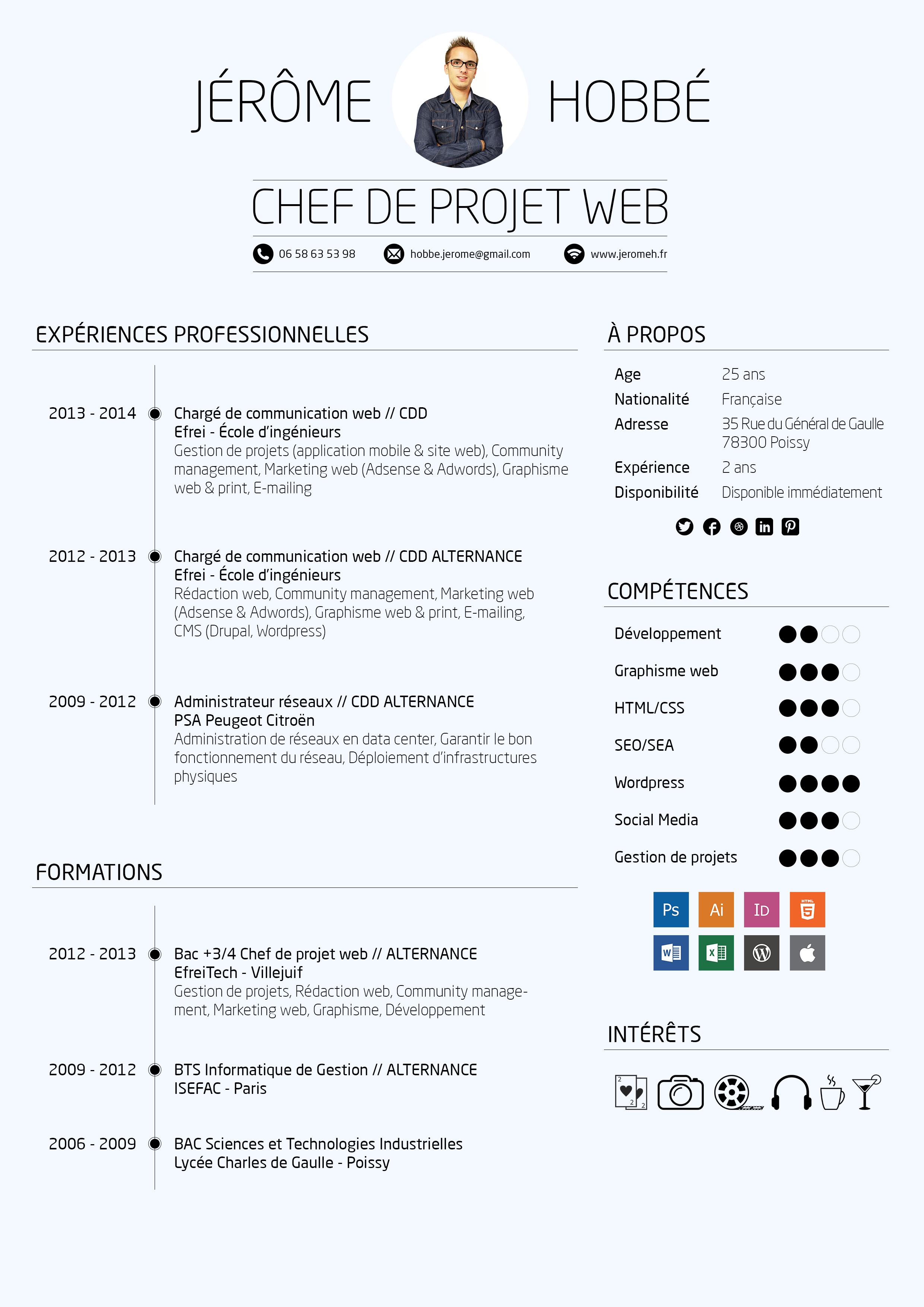 CV Chef de projet web | Design Inspiration | Pinterest | Plantilla ...