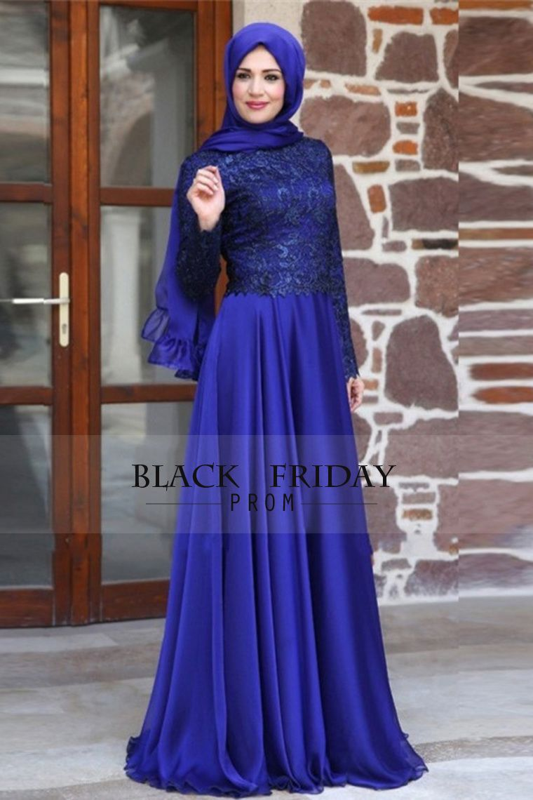 2016 Muslim Prom Dresses Scoop A Line Chiffon | Muslimah Fashion ...