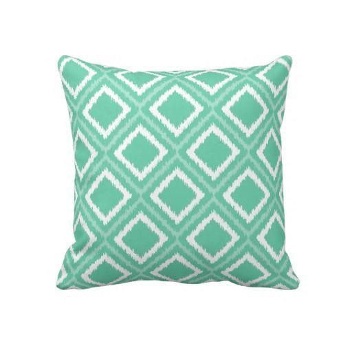Green Ikat Throw Pillow : Square Throw Pillow Mint Green Ikat Mint green, Throw pillows and Squares