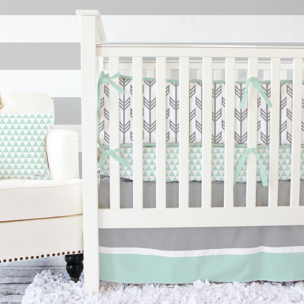 mint  gray arrow modern baby bedding  arrow pattern modern  - mint  gray arrow modern baby bedding