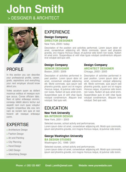 Find the Green Professional Resume Template on wwwcvfolio - proffesional resume