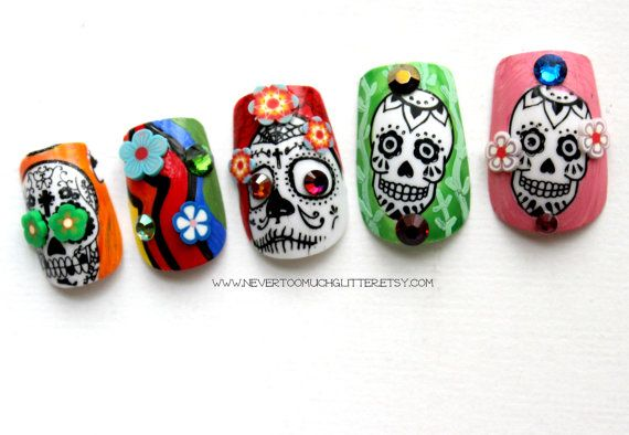 Mexican Sugar Skulls Nail Set by Nevertoomuchglitter
