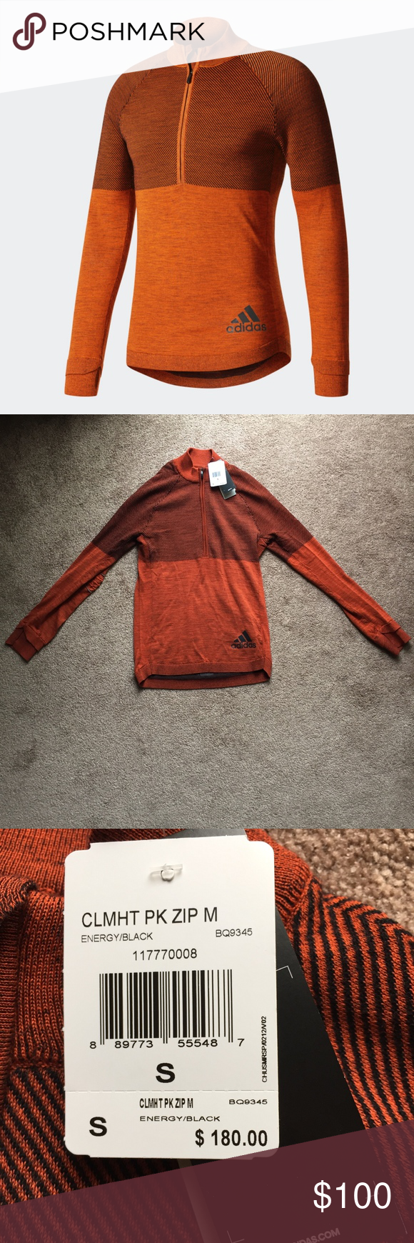 Predownload: Adidas Climaheat Primeknit Sweatshirt Orange Small Brand New With Tags Size Small Color Orange Black Style Mens Running Tops Running Tops Clothes Design [ 1740 x 580 Pixel ]
