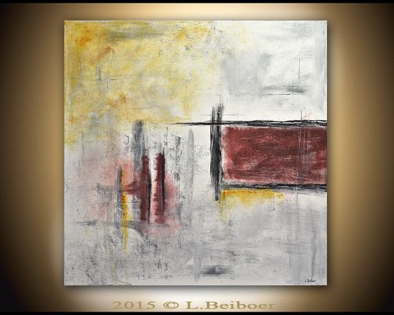 Large original painting 36x36 square abstract by RawArtGallery