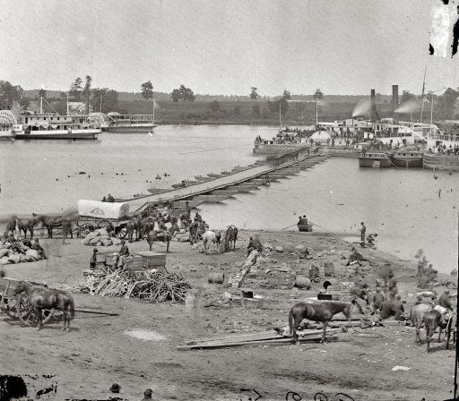 "May 30, 1864. ""Port Royal, Virginia. The Rappahannock River front during the evacuation."""