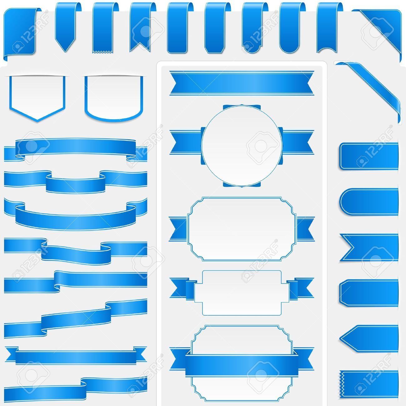 Collection of different blue ribbons and banners Illustration ,